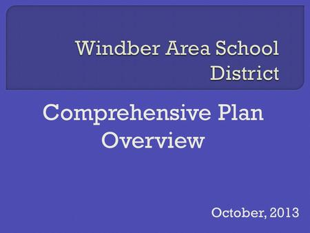 Comprehensive Plan Overview October, 2013. District Profile Mission  The mission of the Windber Area School District is through a framework of communication.