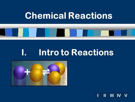 IIIIIIIVV I.Intro to Reactions Chemical Reactions.