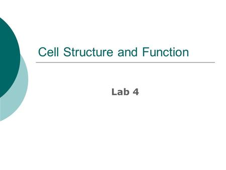 Cell Structure and Function Lab 4. Cells  The cell is the basic unit of life.  Cell theory – all living things are composed of cells. Cells only come.