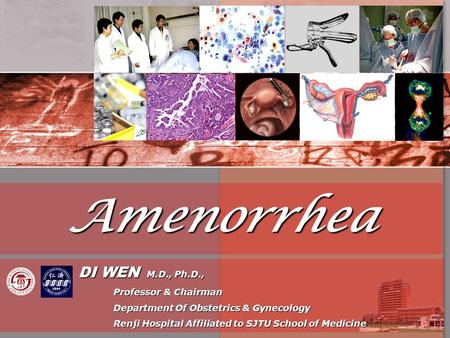 Amenorrhea DI WEN M.D., Ph.D., DI WEN M.D., Ph.D., Professor & Chairman Professor & Chairman Department Of Obstetrics & Gynecology Department Of Obstetrics.