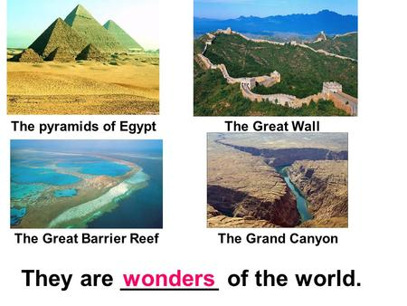 The pyramids of EgyptThe Great Wall They are ________ of the world.wonders The Great Barrier ReefThe Grand Canyon.
