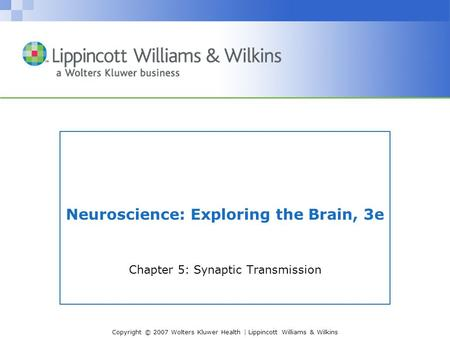Copyright © 2007 Wolters Kluwer Health | Lippincott Williams & Wilkins Neuroscience: Exploring the Brain, 3e Chapter 5: Synaptic Transmission.