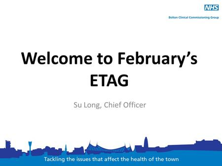Welcome to February's ETAG Su Long, Chief Officer.