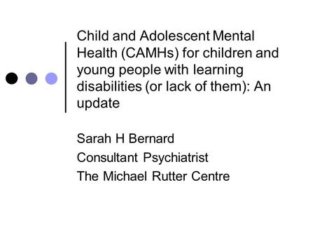 Mental Health Needs/Service Provision for Children and ...