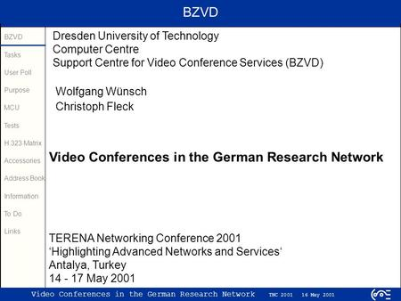 BZVD Tasks User Poll Purpose MCU Tests H.323 Matrix Accessories Address Book Information To Do Links Video Conferences in the German Research Network TNC.