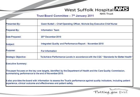 Presented By: Gwen Nuttall – Chief Operating Officer, Nichole Day Executive Chief Nurse Prepared By: Information Team Date Prepared: 20 th December 2010.