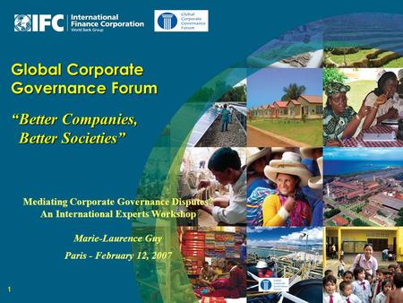 "1 Global Corporate Governance Forum ""Better Companies, Better Societies"" Better Societies"" Mediating Corporate Governance Disputes? An International Experts."