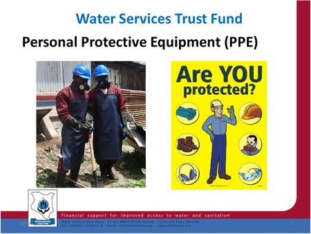 Water Services Trust Fund Personal Protective Equipment (PPE) 10/14/20151.