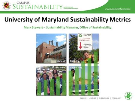 Www.sustainability.umd.edu University of Maryland Sustainability Metrics Mark Stewart – Sustainability Manager, Office of Sustainability.