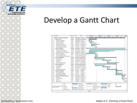Available at: www.etcurr.comLesson 6.2 – Develop a Gantt Chart Develop a Gantt Chart.