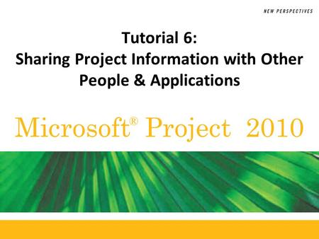 Microsoft Project 2010 ® Tutorial 6: Sharing Project Information with Other People & Applications.