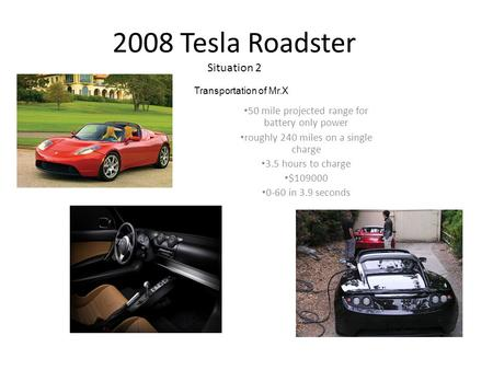 2008 Tesla Roadster Situation 2 50 mile projected range for battery only power roughly 240 miles on a single charge 3.5 hours to charge $109000 0-60 in.