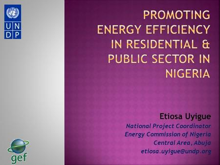 Etiosa Uyigue National Project Coordinator Energy Commission of Nigeria Central Area, Abuja