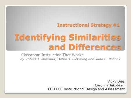 Identifying Similarities and Differences Classroom Instruction That Works by Robert J. Marzano, Debra J. Pickering and Jane E. Pollock Instructional Strategy.