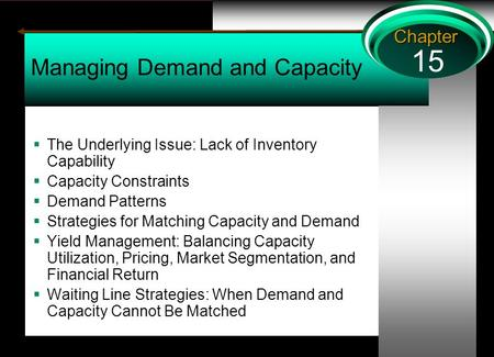 15 Chapter Managing Demand and Capacity  The Underlying Issue: Lack of Inventory Capability  Capacity Constraints  Demand Patterns  Strategies for.