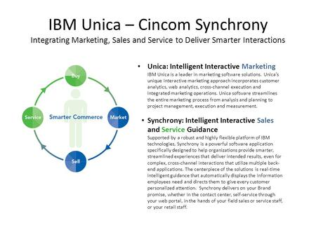 IBM Unica – Cincom Synchrony Integrating Marketing, Sales and Service to Deliver Smarter Interactions Unica: Intelligent Interactive Marketing IBM Unica.