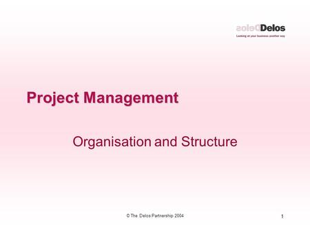 1 © The Delos Partnership 2004 Project Management Organisation and Structure.