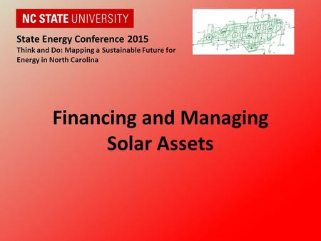 Financing and Managing Solar Assets State Energy Conference 2015 Think and Do: Mapping a Sustainable Future for Energy in North Carolina.