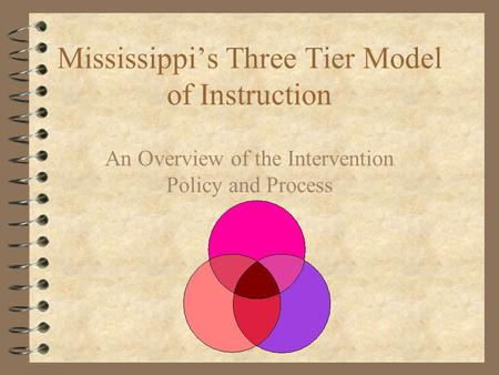 Mississippi's Three Tier Model of Instruction An Overview of the Intervention Policy and Process.