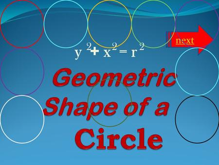 y + x = r 222 next Properties of a Circle What is Pi? Definition of a Circle Lesson Standard Click one!