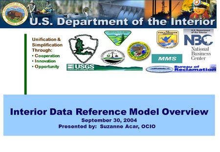 Unification & Simplification Through: C ooperation I nnovation O pportunity Interior Data Reference Model Overview September 30, 2004 Presented by: Suzanne.