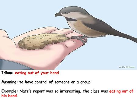 Idiom: eating out of your hand Meaning: to have control of someone or a group Example: Nate's report was so interesting, the class was eating out of his.