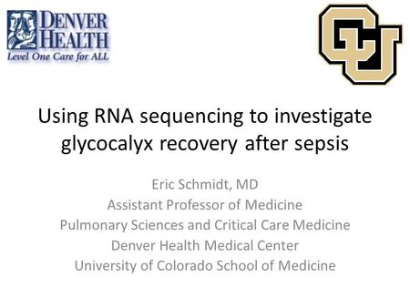 Using RNA sequencing to investigate glycocalyx recovery after sepsis Eric Schmidt, MD Assistant Professor of Medicine Pulmonary Sciences and Critical Care.