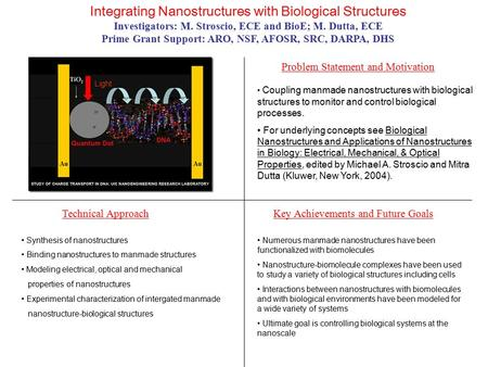 Integrating Nanostructures with Biological Structures Investigators: M. Stroscio, ECE and BioE; M. Dutta, ECE Prime Grant Support: ARO, NSF, AFOSR, SRC,