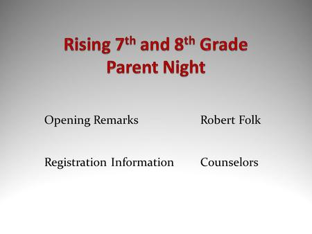 Opening RemarksRobert Folk Registration Information Counselors.