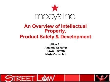 An Overview of Intellectual Property, Product Safety & Development Alice Au Amanda Schaffer Fawn Horvath Marie Camacho.