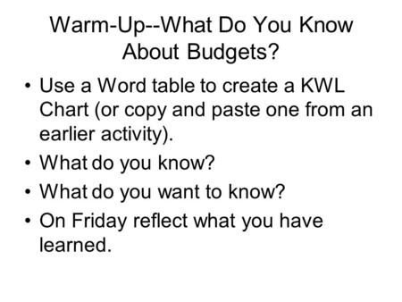 Warm-Up--What Do You Know About Budgets? Use a Word table to create a KWL Chart (or copy and paste one from an earlier activity). What do you know? What.
