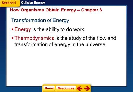Transformation of Energy  Energy is the ability to do work. How Organisms Obtain Energy – Chapter 8 Cellular Energy  Thermodynamics is the study of.