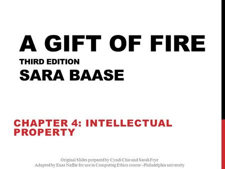 A Gift of Fire Third edition Sara Baase - ppt download