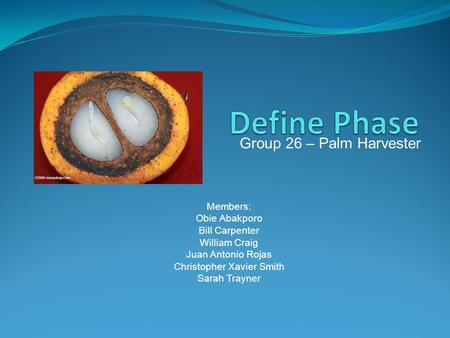 Group 26 – Palm Harvester Members: Obie Abakporo Bill Carpenter William Craig Juan Antonio Rojas Christopher Xavier Smith Sarah Trayner.