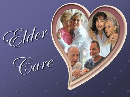 E l d e r C a r e. Elder Care Examine current beliefs on aging Explore the changing demographics of elders and families in the 20 th Century Describe.