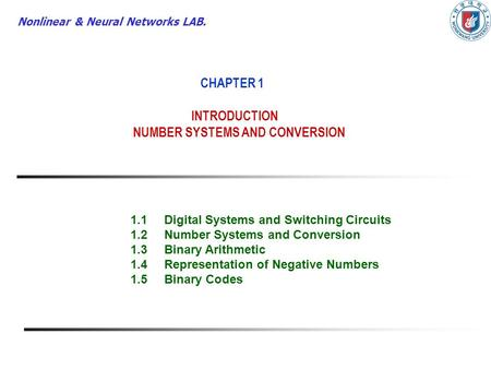 CHAPTER 1 INTRODUCTION NUMBER SYSTEMS AND CONVERSION