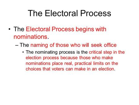 The Electoral Process The Electoral Process begins with nominations. –The naming of those who will seek office The nominating process is the critical step.