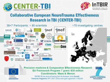 CENTER-TBI has received funding from the European Union Seventh Framework Programme (FP7/2007-2013) under grant agreement n°602150 Collaborative European.