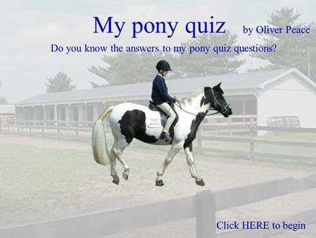 My pony quiz by Oliver Peace Do you know the answers to my pony quiz questions? Click HERE to begin.