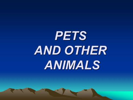 PETS AND OTHER ANIMALS. Look at the pictures and answer the questions :  What animals can you see in the pictures?  What size are they?  Where do they.