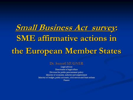 Small Business Act survey: SME affirmative actions in the European Member States Dr. Samuël MUGNER Legal advisor Directorate of legal affairs Division.