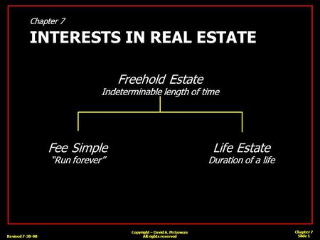 Revised 7-30-08 Chapter 7 Slide 1 Copyright – David A. McGowan All rights reserved Chapter 7 INTERESTS IN REAL ESTATE Freehold Estate Indeterminable length.