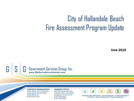 City of Hallandale Beach Fire Assessment Program Update June 2015.