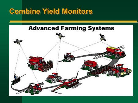Combine Yield Monitors. Current Yield Monitors n Mass-flow sensor n Volumetric-flow sensor n Conveyor belt load sensor n Trailer load sensor n Torque.