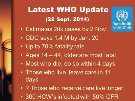 Latest WHO Update (22 Sept. 2014) Estimates 20k cases by 2 Nov. CDC says 1.4 M by Jan. 20 Up to 70% fatality rate Ages 14 – 44, older are most fatal Most.