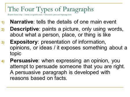 three types of paragraphs in an essay