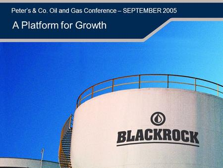 Peter's & Co. Oil and Gas Conference – SEPTEMBER 2005 A Platform for Growth.