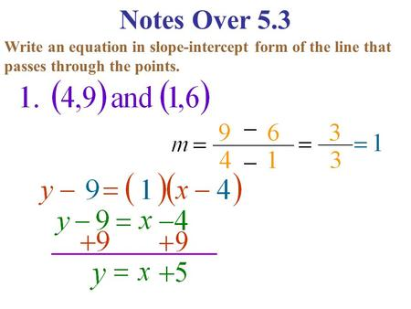 Notes Over 5.3 Write an equation in slope-intercept form of the line that passes through the points.