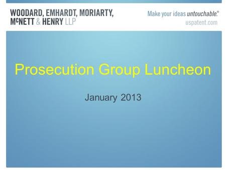 Prosecution Group Luncheon January 2013. Nice Agreement 10 th ed. Version 2013 developed to classify, most entries are not sufficiently definite to use.
