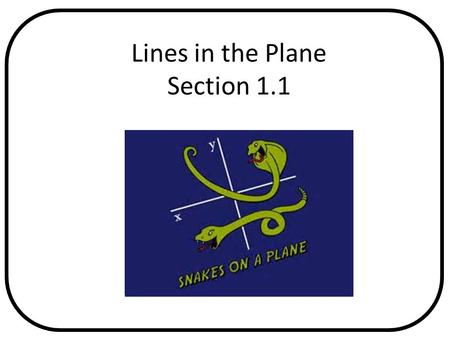 Lines in the Plane Section 1.1. By the end of this lesson, I will be able to answer the following questions… 1. How do I find the slope and equation of.